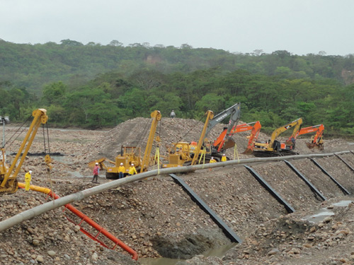 River open-cut crossing for the laying of